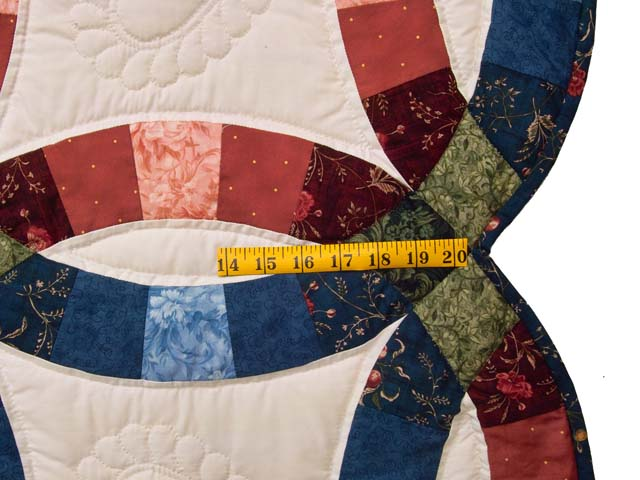 Blue and Red Double Wedding Ring Quilt Photo 7
