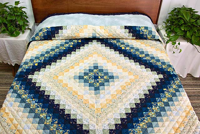 King Navy Blue and Gold Trip Around the World Quilt Photo 1