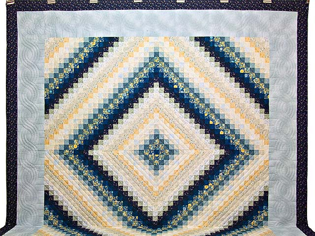 King Navy Blue and Gold Trip Around the World Quilt Photo 2