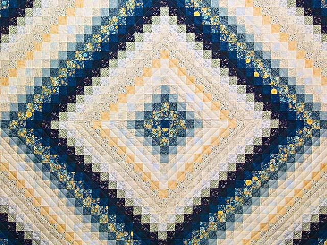 King Navy Blue and Gold Trip Around the World Quilt Photo 3