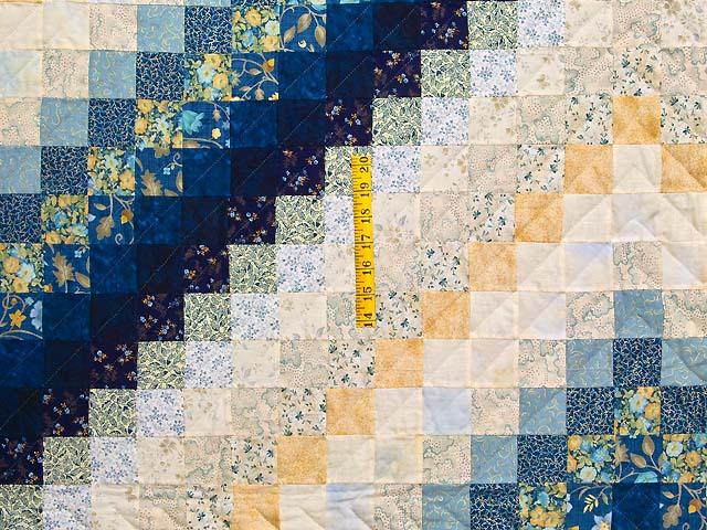 King Navy Blue and Gold Trip Around the World Quilt Photo 4