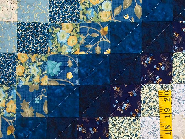 King Navy Blue and Gold Trip Around the World Quilt Photo 5