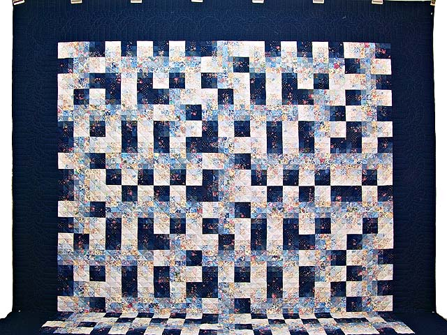 King Navy Blue Fabric Maze Quilt Photo 2