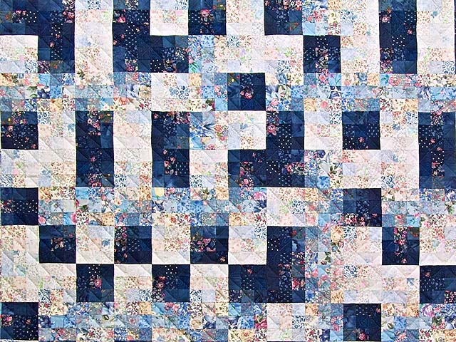 King Navy Blue Fabric Maze Quilt Photo 3