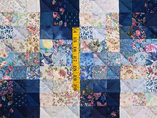 King Navy Blue Fabric Maze Quilt Photo 4
