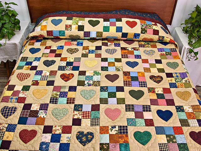 Navy and Burgundy Hearts and Nine Patch Quilt Photo 1