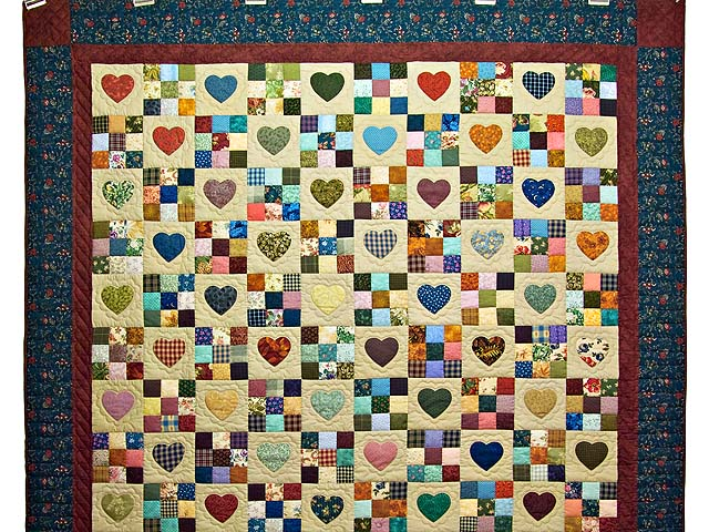 Navy and Burgundy Hearts and Nine Patch Quilt Photo 2
