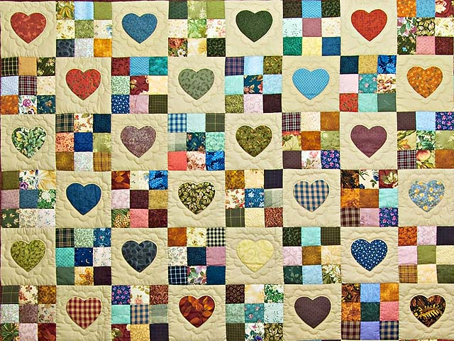 Navy and Burgundy Hearts and Nine Patch Quilt Photo 3