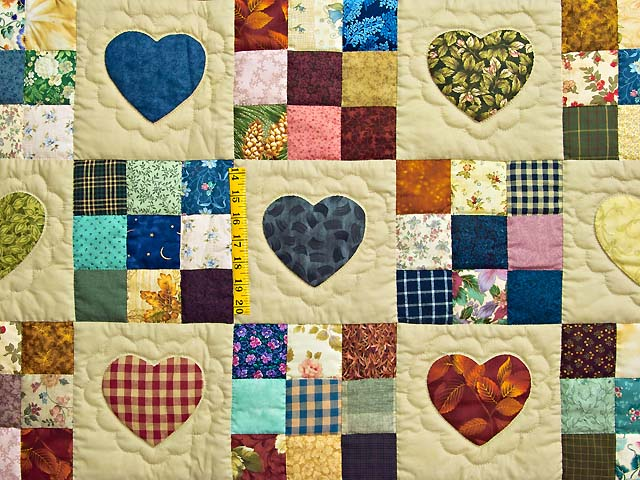 Navy and Burgundy Hearts and Nine Patch Quilt Photo 4
