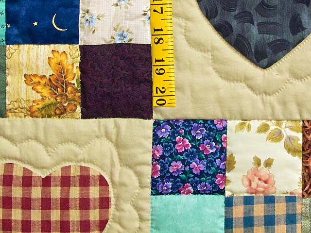 Navy and Burgundy Hearts and Nine Patch Quilt Photo 5