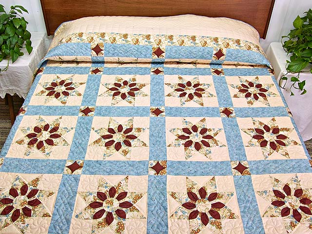 Pastel Blue and Dark Burgundy Dahlia Star Quilt Photo 1