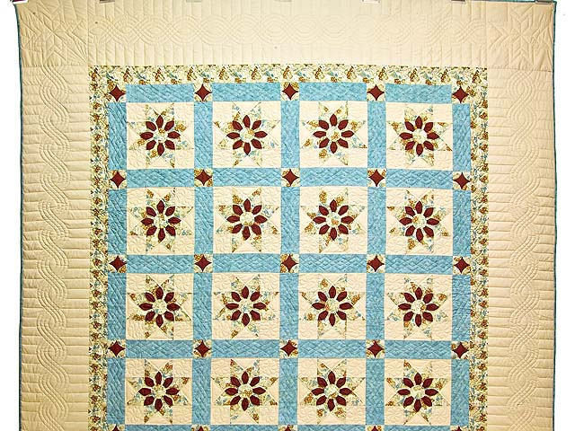 Pastel Blue and Dark Burgundy Dahlia Star Quilt Photo 2