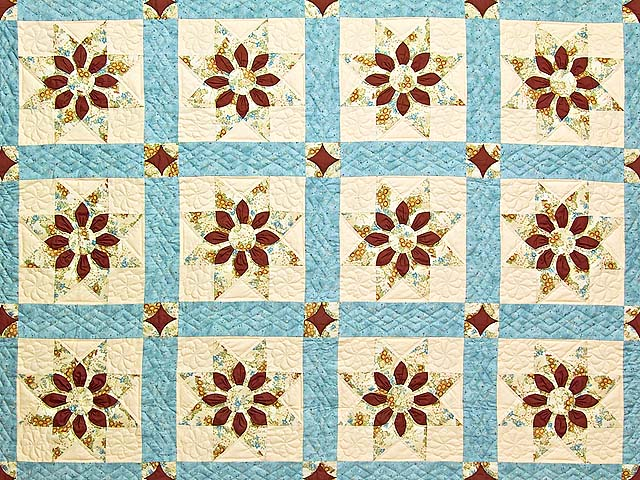 Pastel Blue and Dark Burgundy Dahlia Star Quilt Photo 3