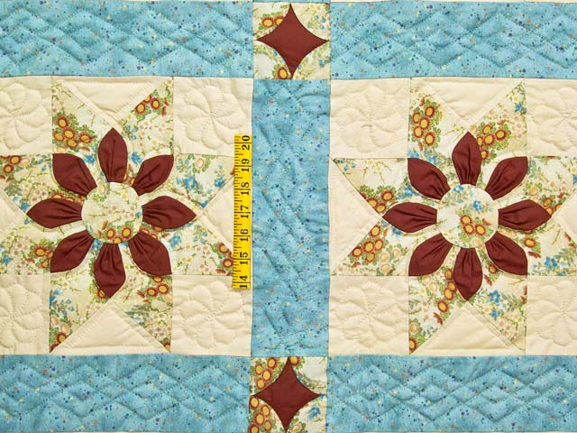 Pastel Blue and Dark Burgundy Dahlia Star Quilt Photo 4