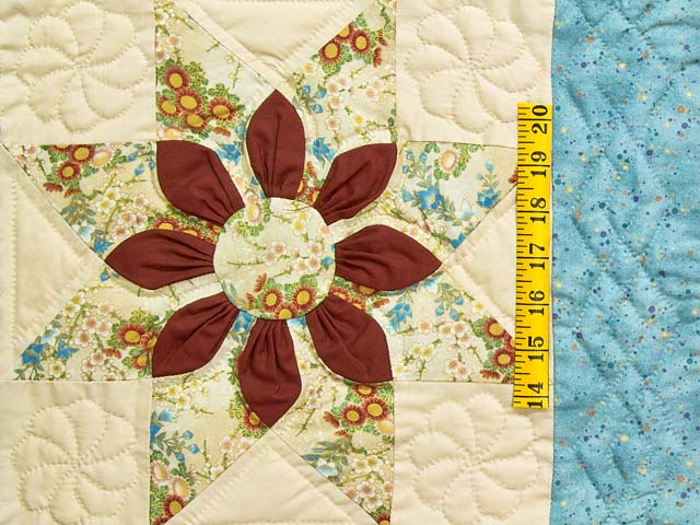 Pastel Blue and Dark Burgundy Dahlia Star Quilt Photo 5