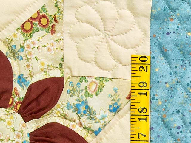 Pastel Blue and Dark Burgundy Dahlia Star Quilt Photo 6