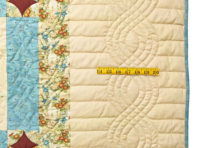Pastel Blue and Dark Burgundy Dahlia Star Quilt Photo 7