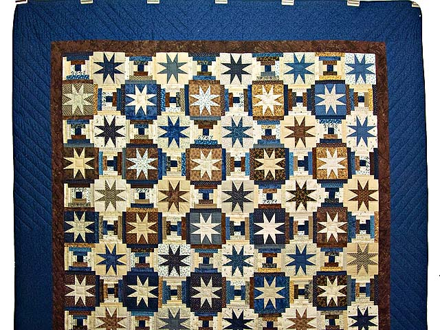 Navy and Brown Court Step Stars Quilt Photo 2