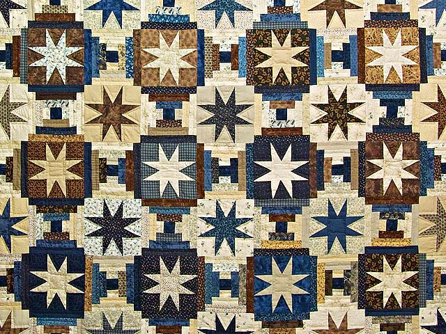 Navy and Brown Court Step Stars Quilt Photo 3