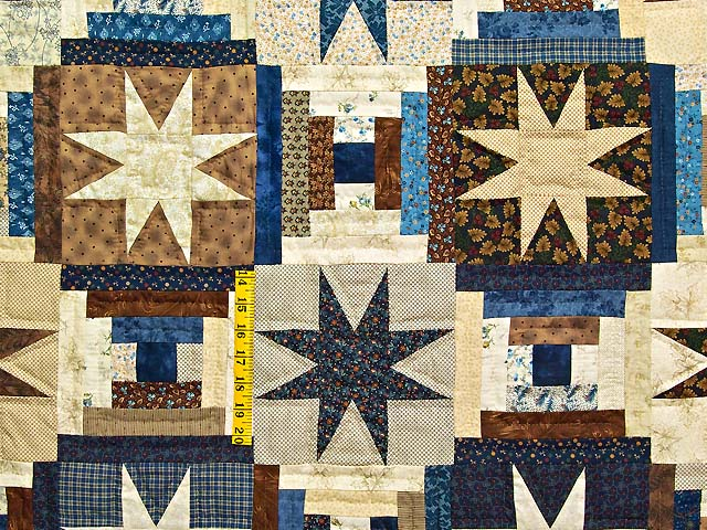Navy and Brown Court Step Stars Quilt Photo 4