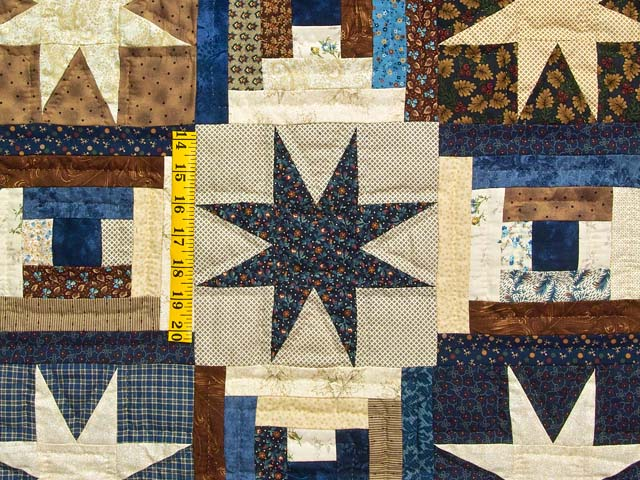 Navy and Brown Court Step Stars Quilt Photo 5