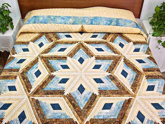 Pastel Blue and Gold Diamond Star Log Cabin Quilt Photo 1