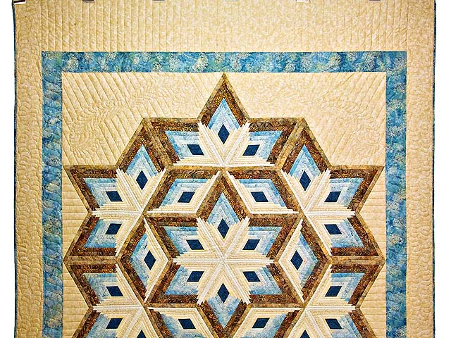 Pastel Blue and Gold Diamond Star Log Cabin Quilt Photo 2