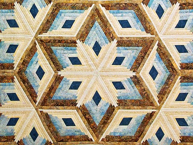 Pastel Blue and Gold Diamond Star Log Cabin Quilt Photo 3
