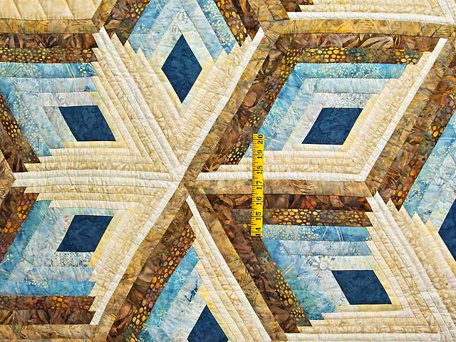Pastel Blue and Gold Diamond Star Log Cabin Quilt Photo 4