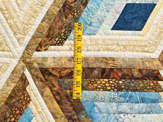 Pastel Blue and Gold Diamond Star Log Cabin Quilt Photo 5
