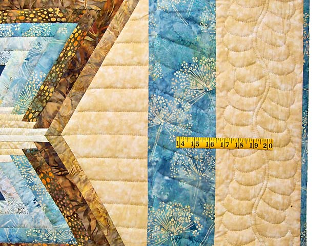 Pastel Blue and Gold Diamond Star Log Cabin Quilt Photo 7