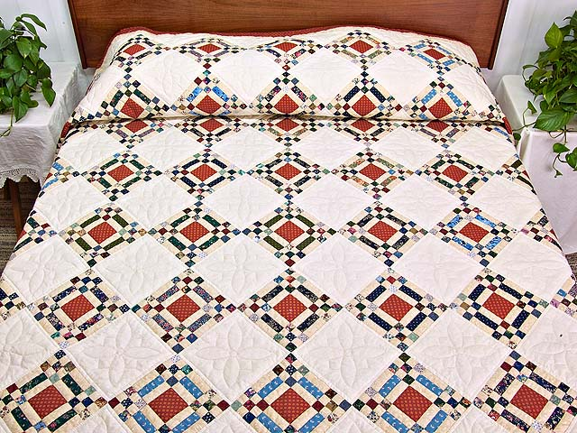 Country Colors Nine Patch on Point Quilt Photo 1