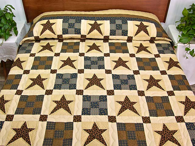 Blue and Golden Brown Ancient Star Quilt Photo 1