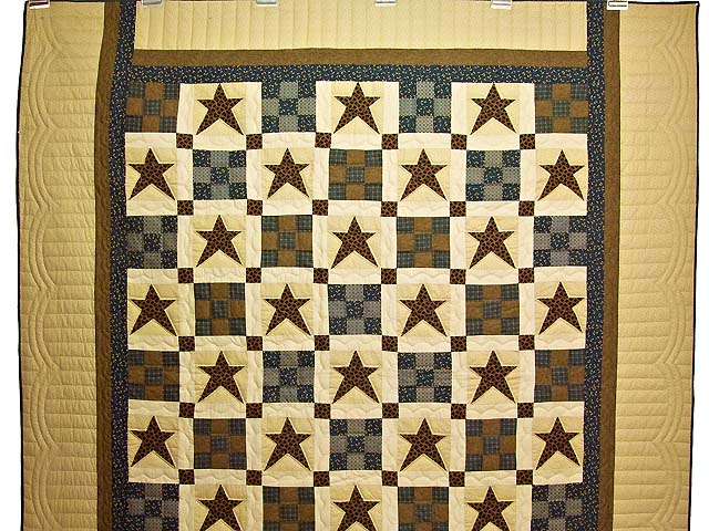 Blue and Golden Brown Ancient Star Quilt Photo 2