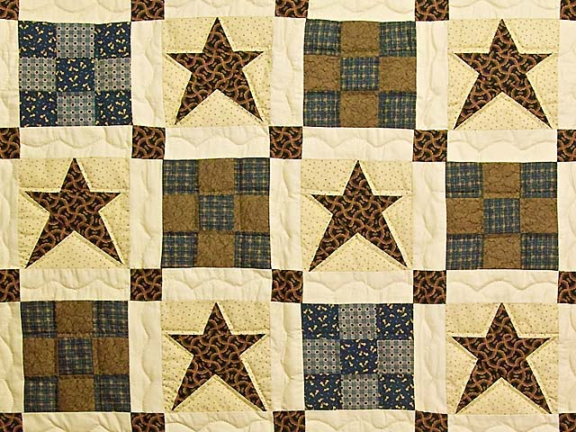 Blue and Golden Brown Ancient Star Quilt Photo 3