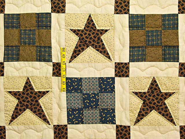 Blue and Golden Brown Ancient Star Quilt Photo 4
