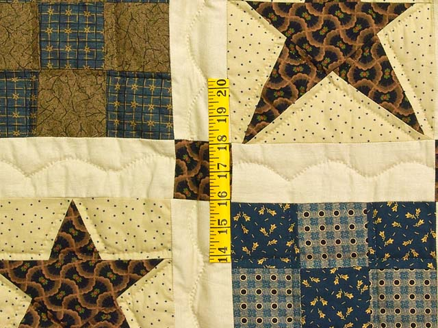 Blue and Golden Brown Ancient Star Quilt Photo 5