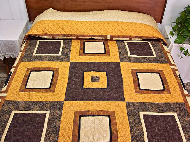 King Gold Brown and Tan Corbi Quilt Photo 1