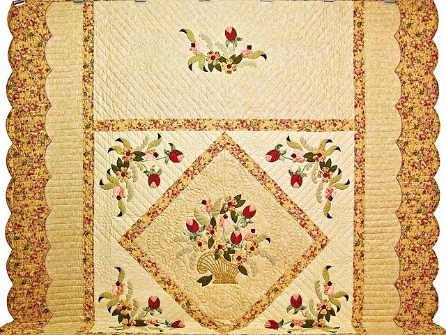 King Sage Green and Rose Spring Basket Quilt Photo 2