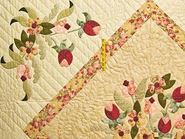 King Sage Green and Rose Spring Basket Quilt Photo 4