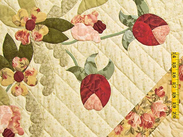 King Sage Green and Rose Spring Basket Quilt Photo 5