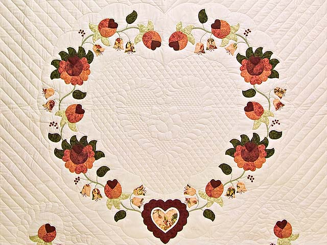 Salmon Heart of Roses Quilt Photo 3
