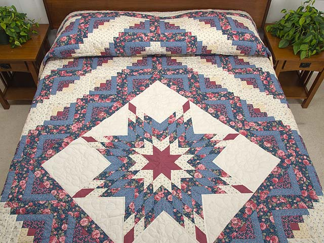 Blues Rose and Cream Lone Star Log Cabin Quilt Photo 1