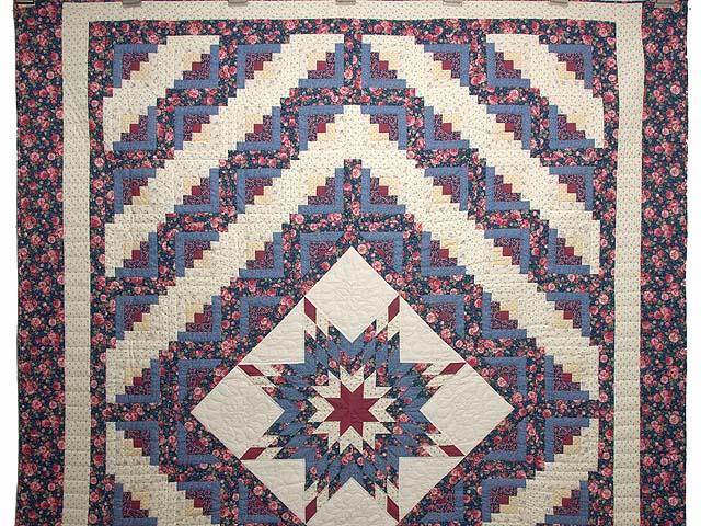 Blues Rose and Cream Lone Star Log Cabin Quilt Photo 2