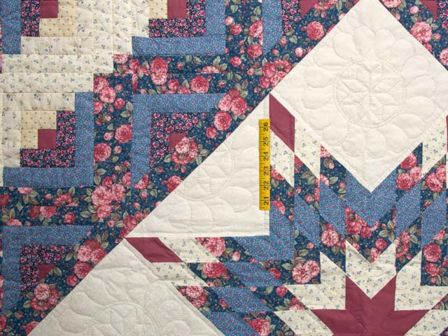 Blues Rose and Cream Lone Star Log Cabin Quilt Photo 4