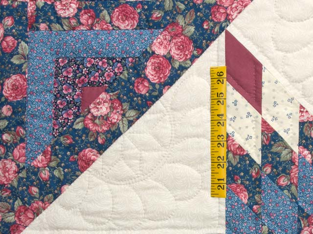 Blues Rose and Cream Lone Star Log Cabin Quilt Photo 5
