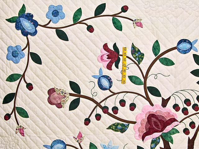 Rose Blue and Green Tree of Life Appliqué Quilt Photo 4
