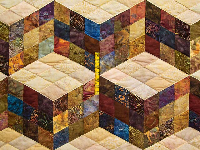 Tumbling Blocks Quilt Terrific Meticulously Made Amish
