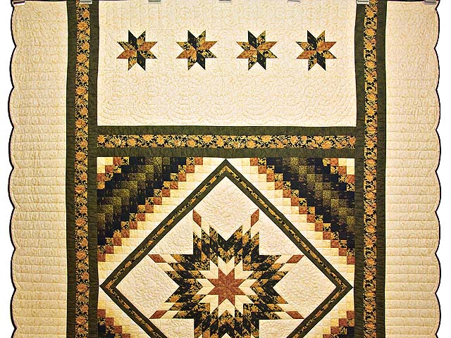 Gold Black and Moss Lone Star Trip Quilt Photo 2