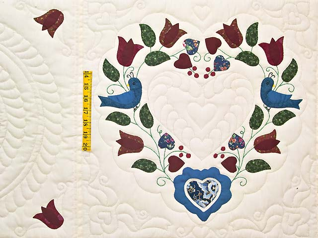 Blue and Burgundy Friendship Hearts Quilt Photo 4